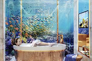 Koop een drijvende villa en slaap in een aquarium