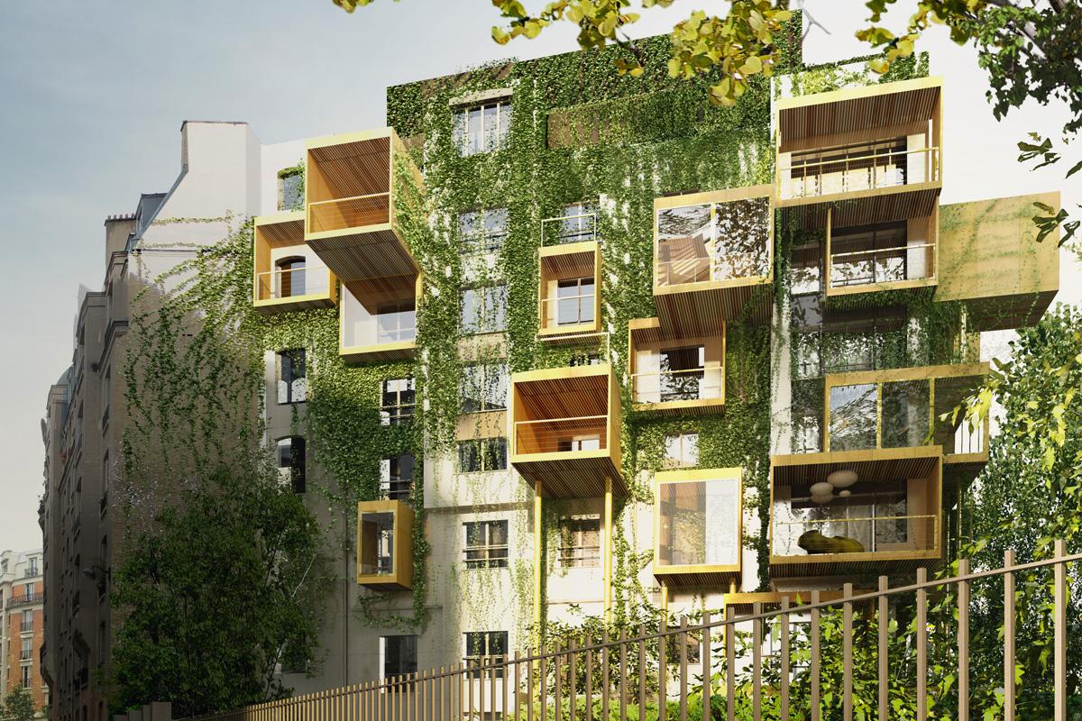 Paris : Des cubes en bois pour agrandir un vieux bâtiment