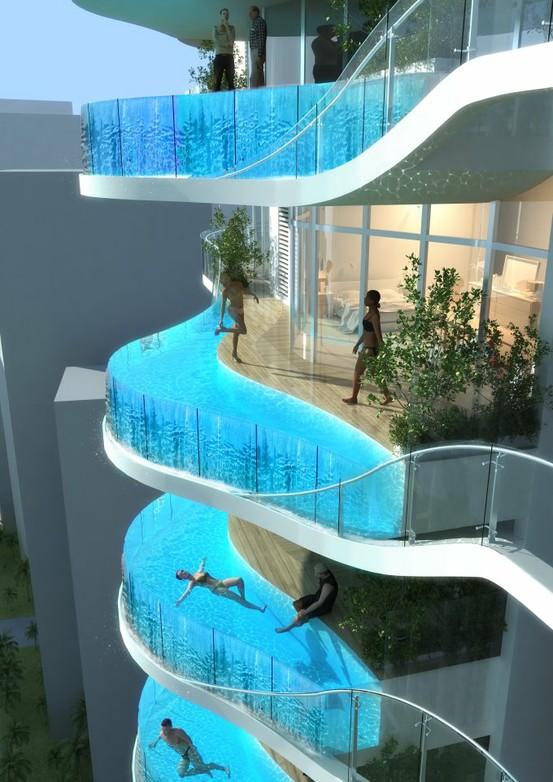 Luxeappartementen met overloopzwembad op het terras.
