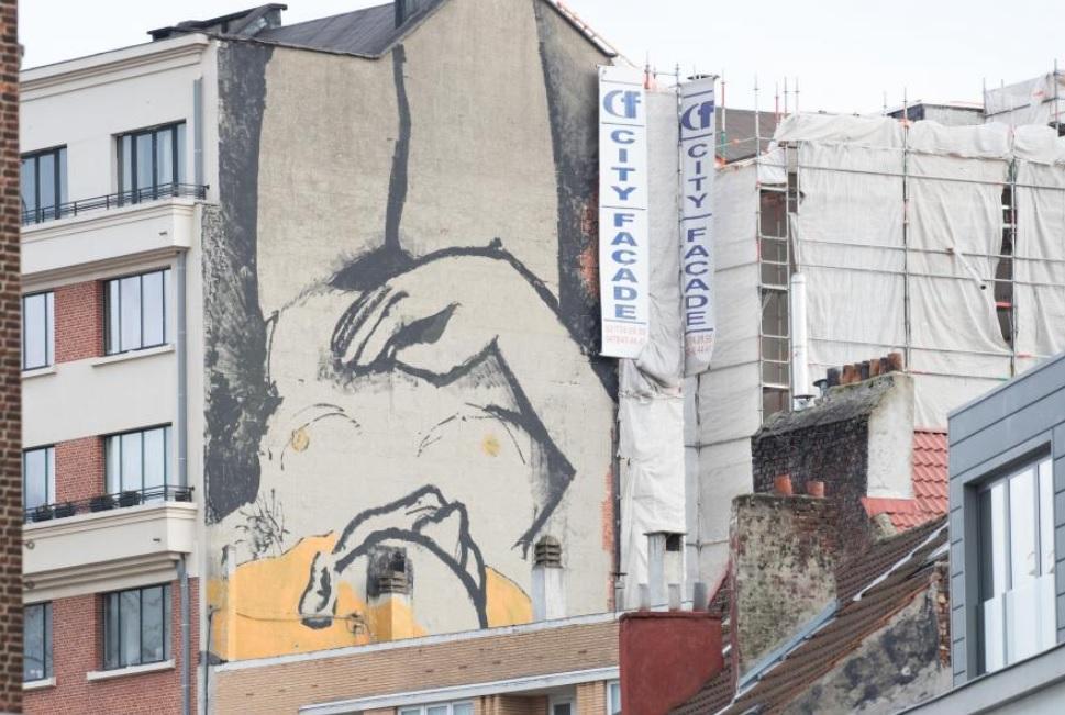 Naakte vrouw op Brusselse muur: choquerend of niet?