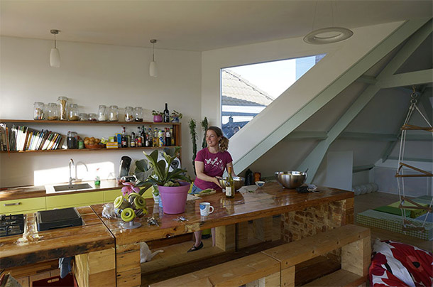 idée rénovation sur Immovlan.be - cuisine lumineuse au coeur de la ville