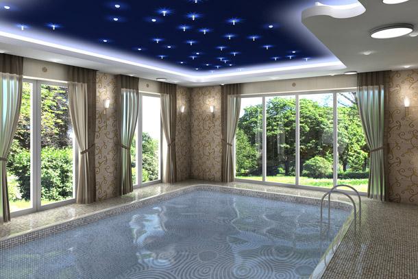 Actu immo 5 superbes piscines d 39 int rieur for Eclairage interieur piscine